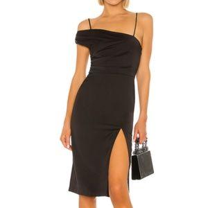 NBD Rajah Midi Dress Small Black Satin NEW